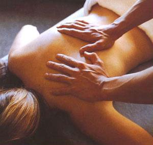 A patient recieving a massage