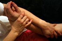 A patient receiving treatment